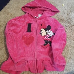 Disney Minnie Mouse Girls Pink Hoodie Size 5T